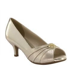 Kristin Champagne Shimmer Peeptoe Womens Evening / Prom Pumps - Shoes from Dyeables by Dyeables