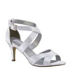 Amber White Satin Open Toe Womens Bridal Sandals - Shoes from Dyeables by Dyeables