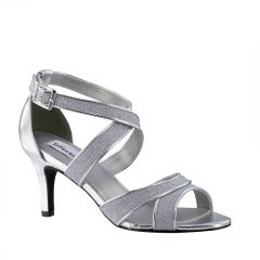 Amber Silver Glitter Open Toe Womens Prom Sandals - Shoes from Dyeables by Dyeables