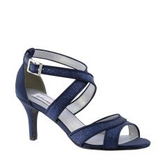 Amber Navy Glitter Open Toe Womens Evening / Prom Sandals - Shoes from Dyeables by Dyeables