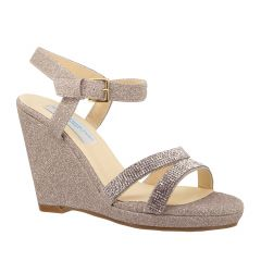 Amy Champagne Glitter Open Toe Womens Evening / Prom Sandals - Shoes from Dyeables by Benjamin Walk