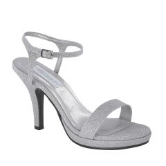 Aurora Silver Glitter Open Toe Womens Prom Sandals - Shoes from Dyeables by Dyeables
