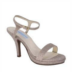 Aurora Champagne Glitter Open Toe Womens Evening / Prom Sandals - Shoes from Dyeables by Dyeables