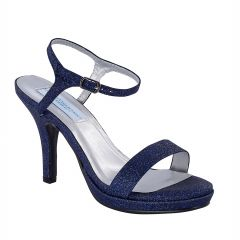 Aurora Navy Glitter Open Toe Womens Evening / Prom Sandals - Shoes from Dyeables by Dyeables