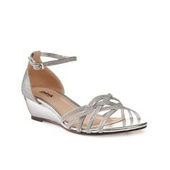 Avery Silver Glitter Open Toe Womens Prom Sandals - Shoes by Paradox London