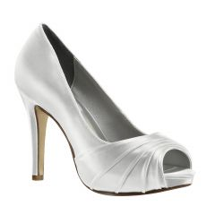 Bea White Satin Peeptoe Womens Bridal Pumps - Shoes from Dyeables by Dyeables