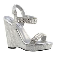 Brynn Silver Shimmer Open Toe Womens Prom Sandals - Shoes from Touch Ups by Benjamin Walk