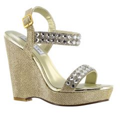 Brynn Gold Shimmer Open Toe Womens Evening / Prom Sandals - Shoes from Touch Ups by Benjamin Walk