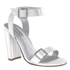 Calista White Satin Open Toe Womens Bridal Sandals - Shoes from Dyeables by Benjamin Walk