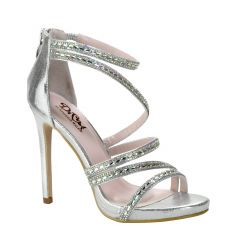 D103 Silver Shimmer Open Toe Womens Prom Shoes from Diva by Benjamin Walk