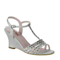 D105 Silver Glitter Open Toe Womens Prom Shoes from Diva by Benjamin Walk