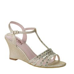 D106 Champagne Glitter Open Toe Womens Evening / Prom Shoes from Diva by Benjamin Walk