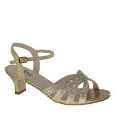 D109 Champagne Glitter Open Toe Womens Evening / Prom Shoes from Diva by Benjamin Walk