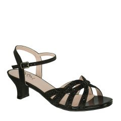 D110 Black Glitter Open Toe Womens Evening Shoes from Diva by Benjamin Walk
