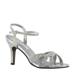 Dulce Silver Shimmer Open Toe Womens Prom Sandals - Shoes from Touch Ups by Benjamin Walk