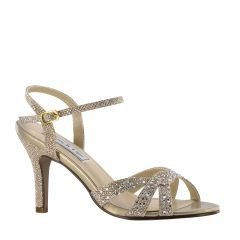 Dulce Champagne Shimmer Open Toe Womens Evening / Prom Sandals - Shoes from Touch Ups by Benjamin Walk