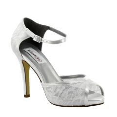 Eden White Satin Peeptoe Womens Bridal Sandals - Shoes from Dyeables by Dyeables