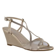 Elodie Champagne Shimmer Open Toe Womens Evening / Prom Sandals - Shoes from Touch Ups by Benjamin Walk