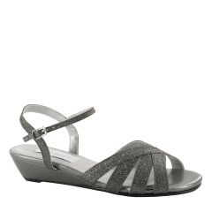 Emma Pewter Glitter Open Toe Womens Evening / Prom Sandals - Shoes from Dyeables by Benjamin Walk