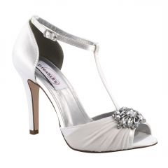 Everly White Satin Open Toe Womens Bridal Sandals - Shoes from Dyeables by Dyeables