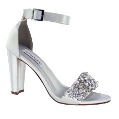 Felicity White Satin Open Toe Womens Bridal Sandals - Shoes from Dyeables by Benjamin Walk