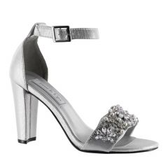 Felicity Silver Shimmer Open Toe Womens Prom Sandals - Shoes from Touch Ups by Benjamin Walk