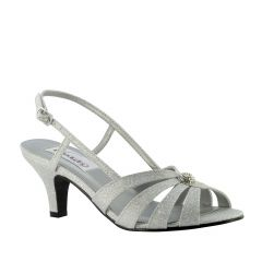 Fiona Silver Sparkle Open Toe Womens Prom Sandals - Shoes from Dyeables by Dyeables