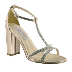 Gwen Champagne Shimmer Open Toe Womens Evening / Prom Sandals - Shoes from Touch Ups by Benjamin Walk