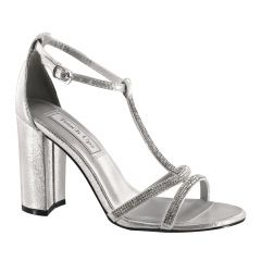 Gwen Silver Shimmer Open Toe Womens Prom Sandals - Shoes from Touch Ups by Benjamin Walk