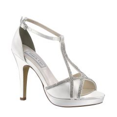Harlow White Satin Open Toe Womens Bridal Sandals - Shoes from Touch Ups by Benjamin Walk