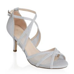Helka Silver Glitter Open Toe Womens Prom Sandals - Shoes by Paradox London