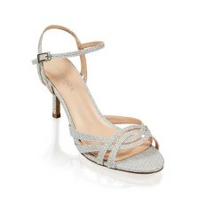 Hersila Silver Shimmer Open Toe Womens Prom Sandals - Shoes by Paradox London