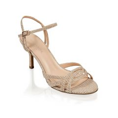 Hersila Champagne Shimmer Open Toe Womens Evening / Prom Sandals - Shoes by Paradox London