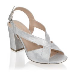 Hibiscus Silver Shimmer Open Toe Womens Prom Sandals - Shoes by Paradox London