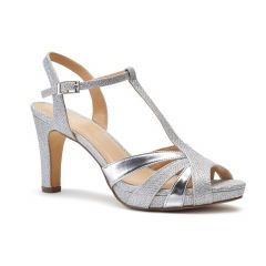Hinda Silver Metallic Open Toe Womens Prom Sandals - Shoes by Paradox London