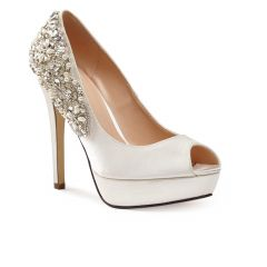 Indulgence Ivory Satin Peeptoe Womens Bridal Pumps - Shoes by Paradox London