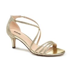 Isla Gold Glitter Open Toe Womens Evening / Prom Sandals - Shoes by Paradox London