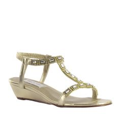 Jazz Gold Metallic Open Toe Womens Evening / Prom Sandals - Shoes from Touch Ups by Benjamin Walk