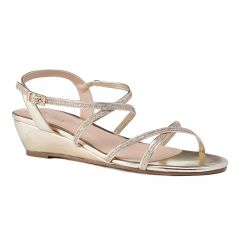Kadie Gold Glitter Open Toe Womens Evening / Prom Sandals - Shoes by Paradox London
