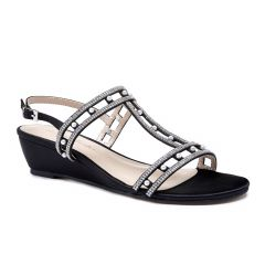 Kamara Black Satin Open Toe Womens Evening Sandals - Shoes by Paradox London