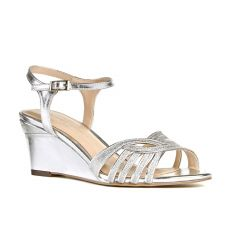Karianne Silver Metallic Open Toe Womens Prom Sandals - Shoes by Paradox London