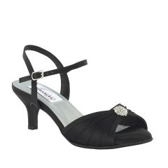 Kelsey Black Satin Open Toe Womens Evening Sandals - Shoes from Dyeables by Dyeables