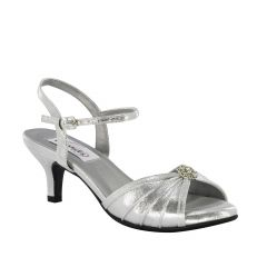 Kelsey Silver Shimmer Open Toe Womens Prom Sandals - Shoes from Dyeables by Dyeables