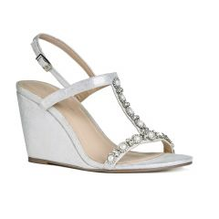Kiana Silver Shimmer Open Toe Womens Prom Sandals - Shoes by Paradox London