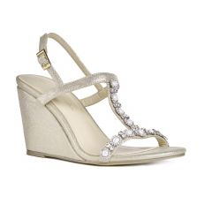 Kiana Champagne Shimmer Open Toe Womens Evening / Prom Sandals - Shoes by Paradox London
