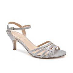 Laurie Silver Glitter Open Toe Womens Prom Sandals - Shoes by Paradox London