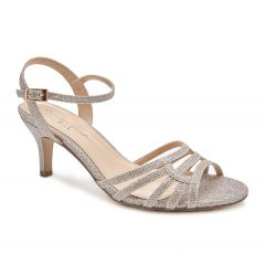 Laurie Champagne Glitter Open Toe Womens Evening / Prom Sandals - Shoes by Paradox London