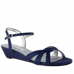 Lena Navy Shimmer PU Open Toe Womens Evening / Prom Sandals - Shoes from Touch Ups by Benjamin Walk