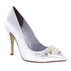 Lennon White Satin Closed Toe Womens Bridal Pumps - Shoes from Dyeables by Benjamin Walk