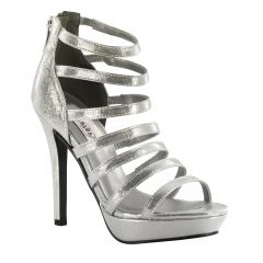 Lola Silver Shimmer Open Toe Womens Prom Sandals - Shoes from Dyeables by Dyeables